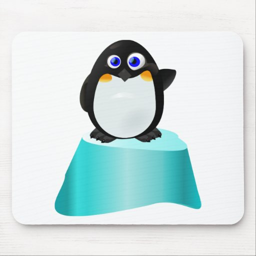Cute Waving Penguin Mouse Pad