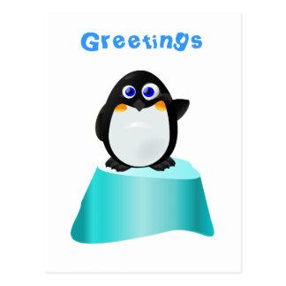 Cute Waving Penguin Postcard