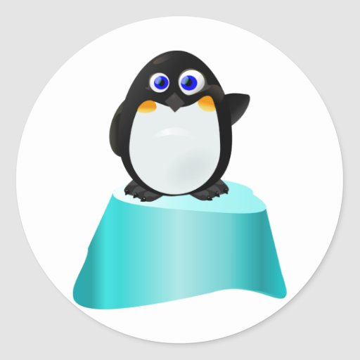 Cute Waving Penguin Round Sticker