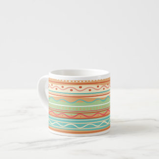 Cute Wavy Stripes with Dots Espresso Cup