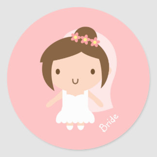 Cute Wedding Bride Girl in White Gown Classic Round Sticker