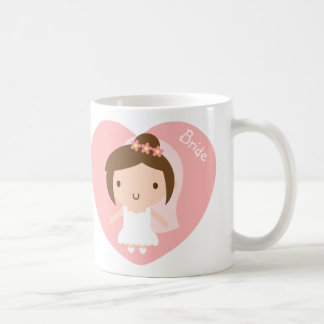 Cute Wedding Bride Girl in White Gown For Her Coffee Mug