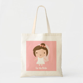 Cute Wedding Bride Girl in White Gown Tote Bag