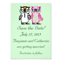 Cute Wedding Bride & Groom Owl Save the Date Card