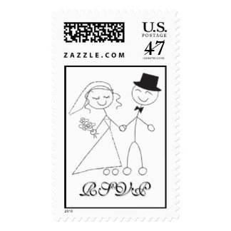Cute Wedding Bride Groom Sketch Save The Date RSVP Postage