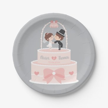 Bride Themed Cute Wedding Cake Topper Bride and Groom Plates