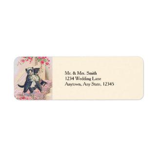 Cute Wedding Cats Bride and Groom Label
