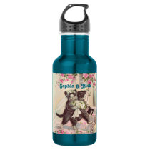 Cute Wedding Cats Bride and Groom Stainless Steel Water Bottle