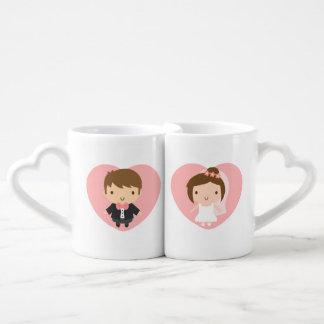 Cute Wedding Couple Boy and Girl Newly Married Coffee Mug Set