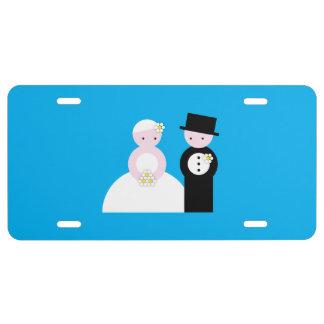 Cute wedding couple license plate