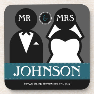 Cute Wedding Couple  Mr and Mrs Drink Coaster
