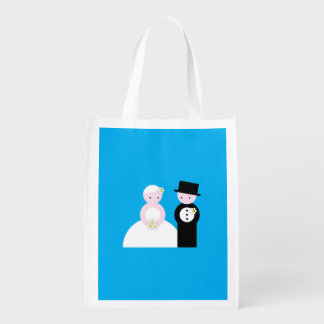 Cute wedding couple reusable grocery bag