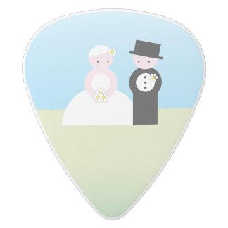 Cute wedding couple white delrin guitar pick