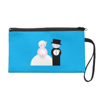 Cute wedding couple wristlet purse