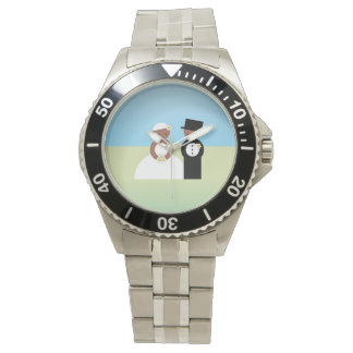 Cute wedding couple wristwatch