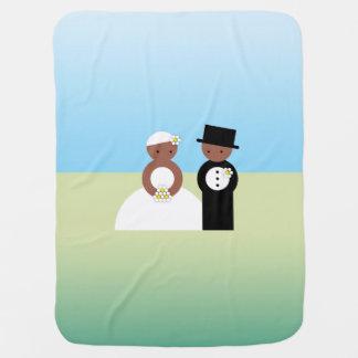Cute wedding couple stroller blankets