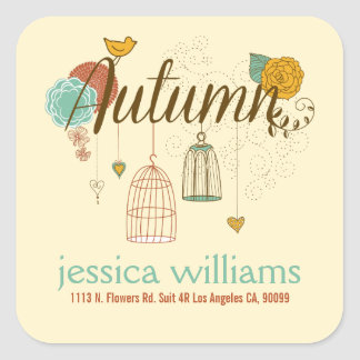 Cute Wedding Design Autumn Birds & Flowers Square Sticker