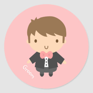 Cute Wedding Groom Boy in Tuxedo For Him Classic Round Sticker