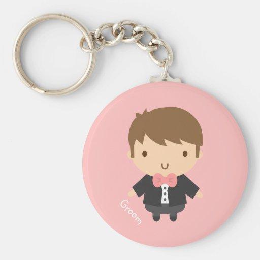 Cute Wedding Groom Boy in Tuxedo For Him Key Chains