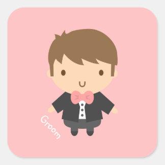 Cute Wedding Groom Boy in Tuxedo For Him Square Sticker