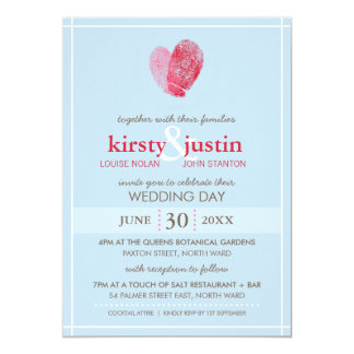 CUTE WEDDING INVITE modern fingerprint heart blue