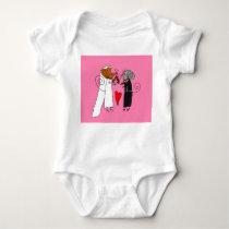 Cute Wedding Mice Baby Bodysuit