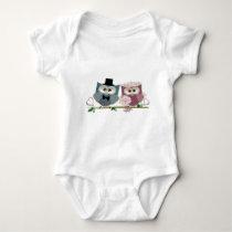 Cute Wedding Owls Baby Bodysuit