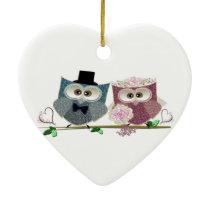 Cute Wedding Owls Ceramic Ornament