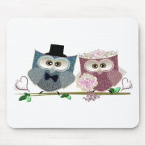Cute Wedding Owls Mouse Pad