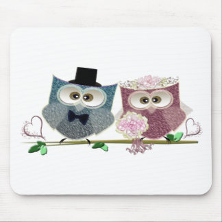 Cute Wedding Owls Mouse Mats