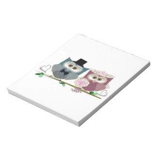 Cute Wedding Owls Memo Notepads
