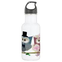 Cute Wedding Owls Stainless Steel Water Bottle