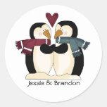 Cute Wedding Penguins Envelope Seal Classic Round Sticker