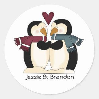 Cute Wedding Penguins Envelope Seal Round Sticker