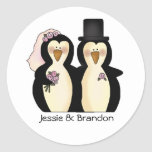 Cute Wedding Penguins Envelope Seal Classic Round Sticker