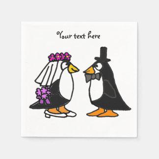 Cute Wedding Penguins Paper Napkins