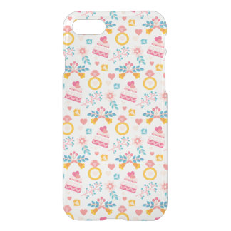 Cute Wedding Ring Cake Flowers Love iPhone 7 Clear iPhone 8/7 Case