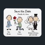 """Cute Wedding Save the Date Magnets<br><div class=""""desc"""">Cute stick figure save the date cards with a funny version the bride and groom. See bride,  see groom,  see bride and groom get married! Easy to use template - just enter the names of the Bride &amp; Groom,  along with the wedding date in the space provided.</div>"""