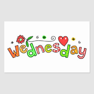 Cute Wednesday Week Day Greeting Text Expression Rectangular Sticker