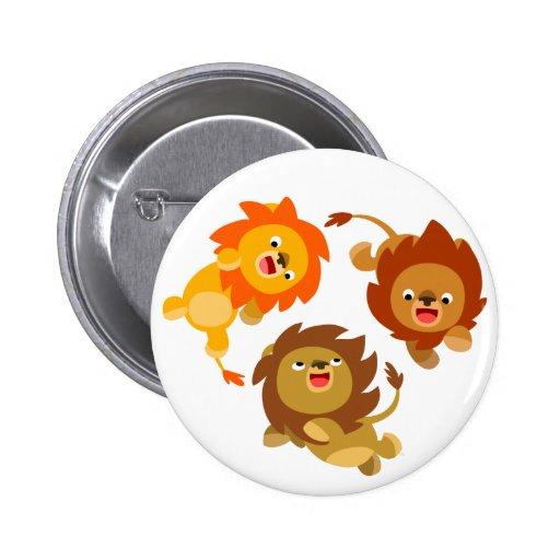 Cute Weightless Cartoon Lions Button Badge
