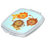 Cute Weightless Cartoon Lions Compact Mirror