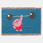 Cute Weightlifting Cartoon Pig Throw Blanket