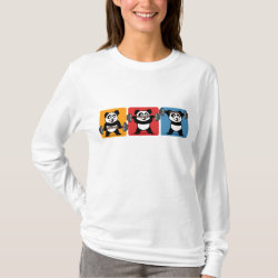 Women's Basic Long Sleeve T-Shirt with 1-2-3 Weightlifting Panda design