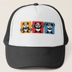 Trucker Hat with 1-2-3 Weightlifting Panda design
