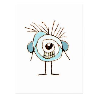 Cute Weird Caricature Illustration Postcard