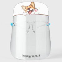 Cute Welsh Corgi Dog, Personalized Custom Text Face Shield