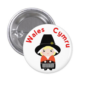 Cute Welsh Costume Pin Button Badge