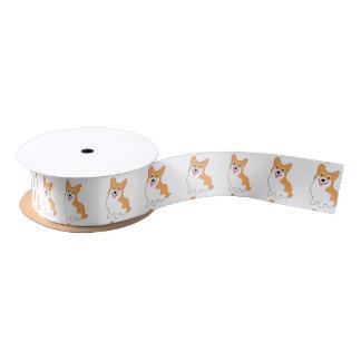 Cute Welsh Pembroke Corgi Pup Satin Ribbon