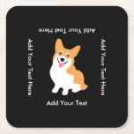 "Cute Welsh Pembroke Corgi Puppy Square Paper Coaster<br><div class=""desc"">Cute little smiling corgie dog cartoon drawing.</div>"