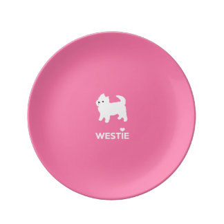 Cute West Highland Terrier - I Love Westies Dinner Plate